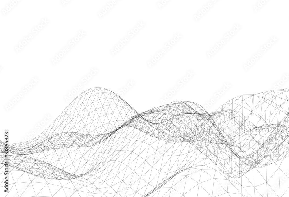 Abstract triangular mesh, background vector illustration