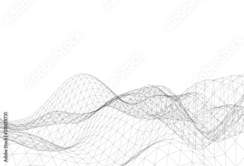 Abstract triangular mesh, background vector illustration Canvas Print