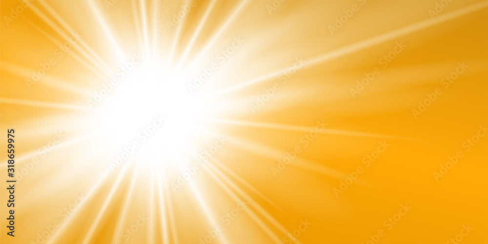 Fototapeta Rays yellow background. Gold sunny sky. Heat sunburs, hot weather. Sunshine orange sky. White warm sunlight. Bright golden solar sunrise, summer template. Lens optic effect. Vector illustration