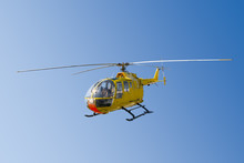 Flying Yellow Rescue Helicopter