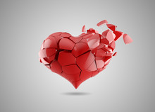 Red Broken Heart Isolated On White, Gray