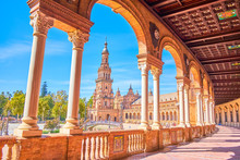 The Arcaded Gallery Of The Building On Plaza De Espana, Seville, Spain