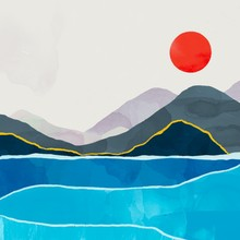Abstract Landscape. Water, Mountains And The Red Sun. Totally Hand Drawn Colorful Digital Illustration. Various Textures