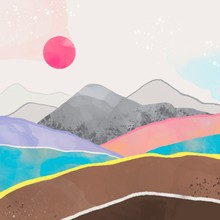 Abstract Landscape. Water, Mountains, Fields And The Pink Sun. Totally Hand Drawn Colorful Digital Illustration. Various Textures
