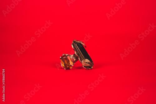 Product shot of Rings on a red background Tapéta, Fotótapéta