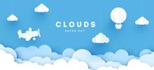 Modern Paper Art Clouds, Airpl...