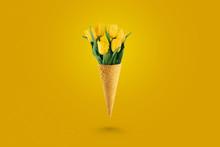 Yellow Beautiful Tulips In An ...
