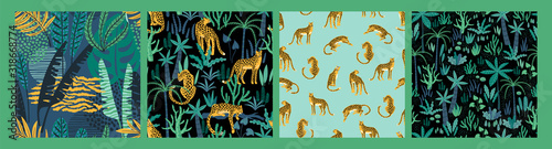 Vector seamless pattern with leopards and tropical leaves. Wallpaper Mural