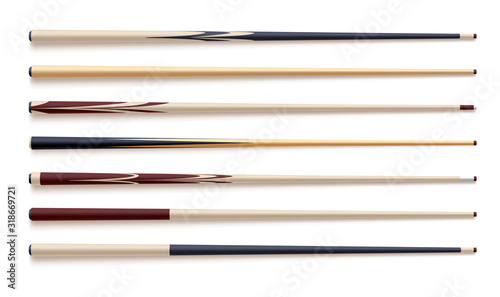 Fotografering Realistic vector set of wooden billiard cues isolated on white white background