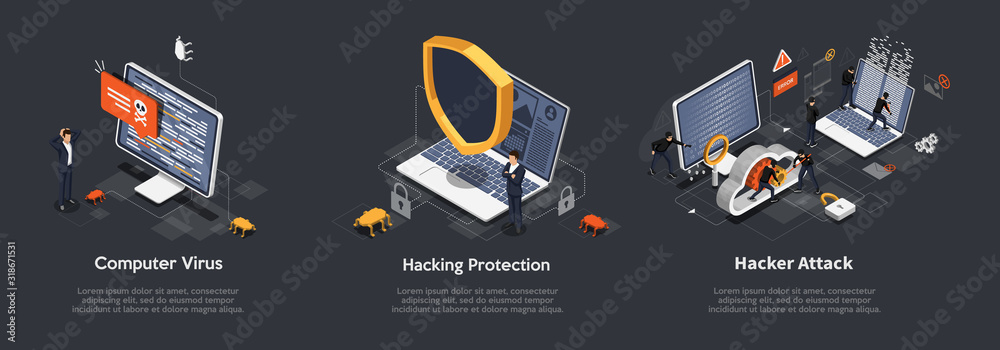 Fototapeta Set of Isometric hacking concept. Set Of Illustrations of Computer Virus, Hacking Protection, Hacker Attack. Anti virus, spyware, malware. Vector illustration