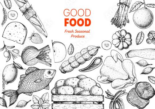 Fototapeta Organic food illustration. Farmers market design elements. Hand drawn sketch. Various food frame. Good food store concept. obraz