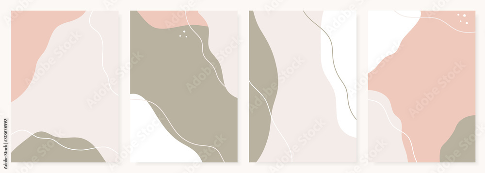 Fototapeta Modern design templates with abstract shapes in pastel colors. Contemporary collage style for wedding invitations, flyers, cards, poster, magazine cover, etc.