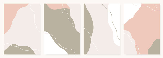 Modern design templates with abstract shapes in pastel colors. Contemporary collage style for wedding invitations, flyers, cards, poster, magazine cover, etc.