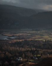 Beautiful Scenery Of The Sunset In The Lake District Over Derwent Water