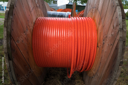Photo cable drum with orange cable