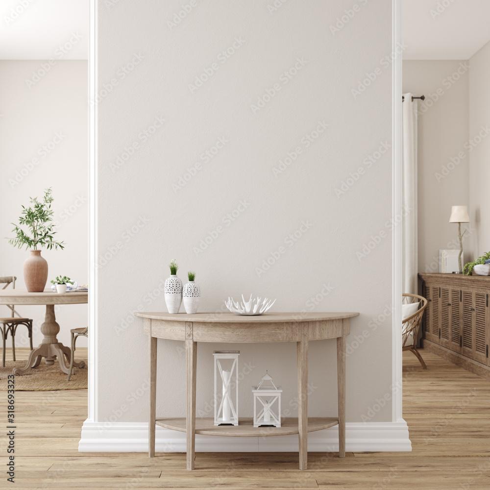 Fototapeta Scandinavian farmhouse living room interior, wall mockup, 3d render