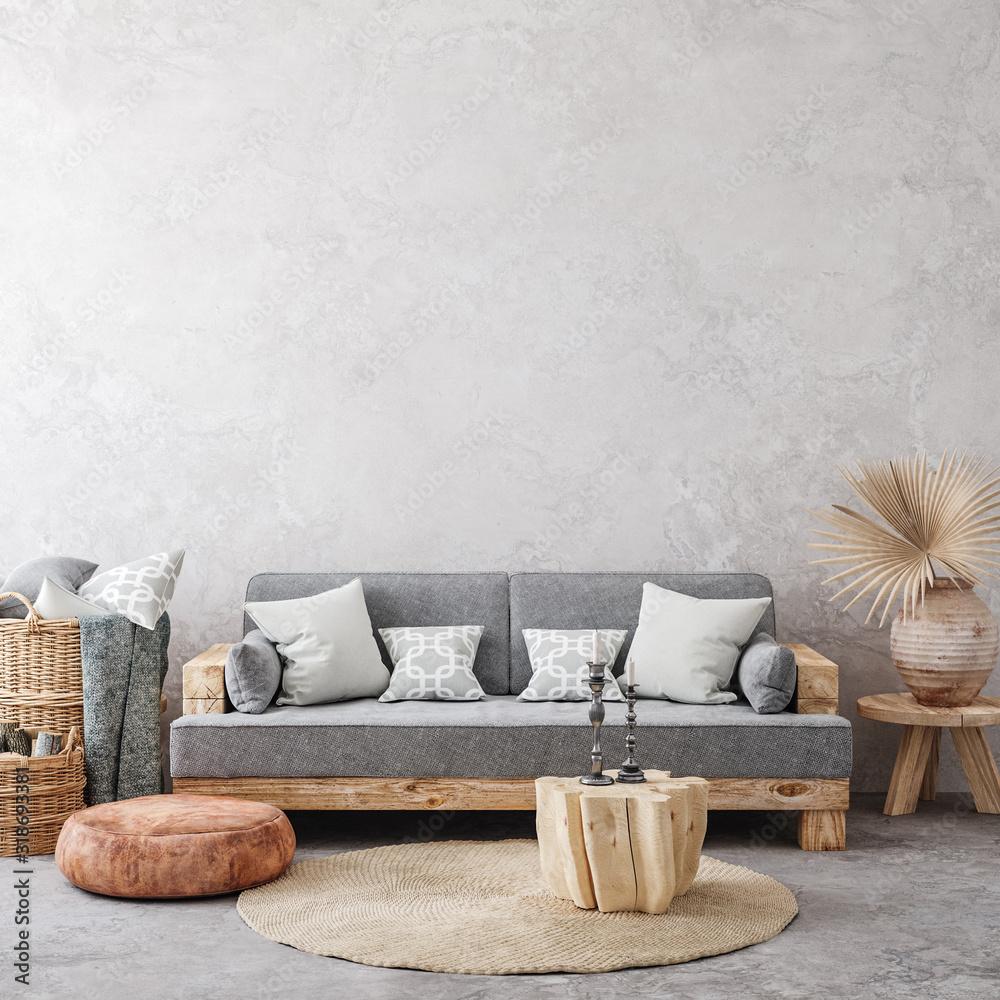 Fototapeta Ethnic style living room interior, 3d render