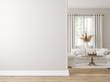 canvas print picture - Scandinavian farmhouse living room interior, wall mockup, 3d render