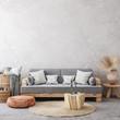 Leinwanddruck Bild - Ethnic style living room interior, 3d render