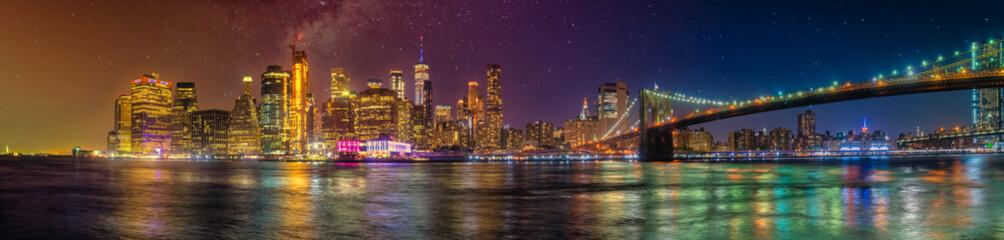 new york city skyline ultra wide panorama manhattan travel destination