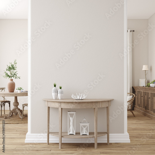 Scandinavian farmhouse living room interior, wall mockup, 3d render - 318693323