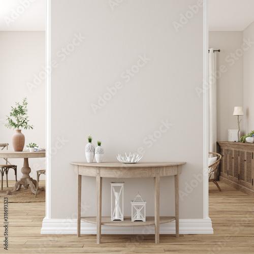 Tela Scandinavian farmhouse living room interior, wall mockup, 3d render