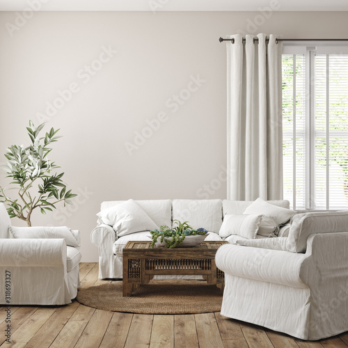 Scandinavian farmhouse living room interior, wall mockup, 3d render Fotobehang