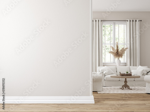 Scandinavian farmhouse living room interior, wall mockup, 3d render Canvas Print