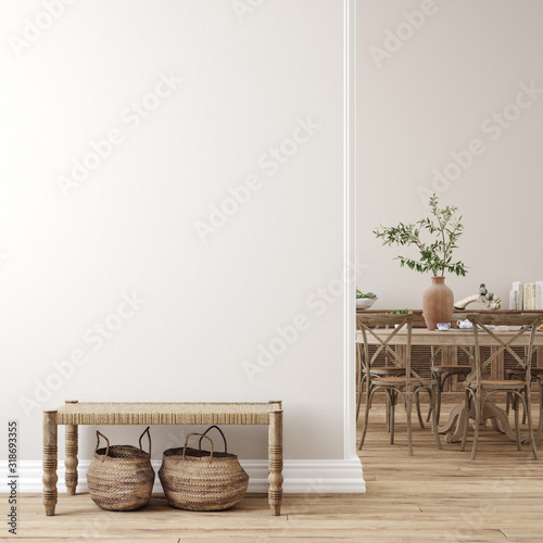 Scandinavian farmhouse living room interior, wall mockup, 3d render Wall mural
