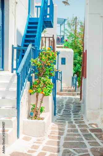 Obraz na plátně The narrow streets of the island with blue balconies, stairs and flowers