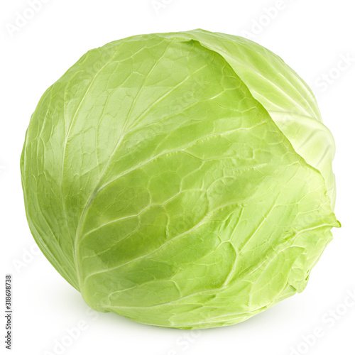 cabbage isolated on white background, clipping path, full depth of field Wallpaper Mural
