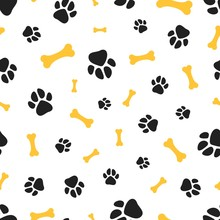 Pets Paw Pattern. Bones And An...