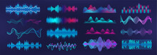 Sound Waves Equalizer. Frequency Audio Waveform, Music Wave, Voice Graph Signal In Futuristic Style HUD. Microphone Voice Control Set And Sound Recognition. Audio Waves Vector Set