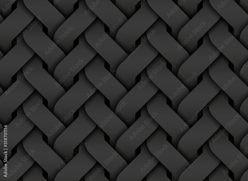 Fototapeta Black seamless pattern of entwined curve bands. Vector dark texture illustration.