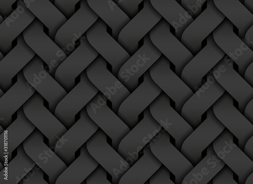 Black seamless pattern of entwined curve bands Tablou Canvas