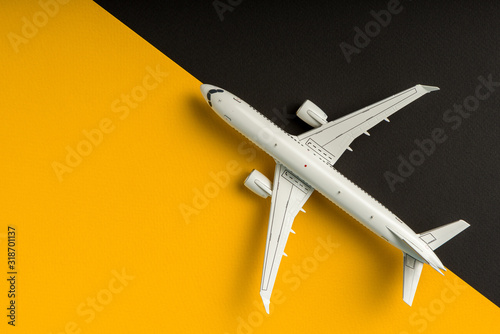 Photo Plane on yellow and black background