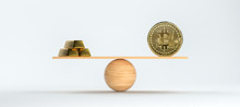 Wooden Scale Balancing Bitcoin And Gold Bars On Front White Background