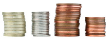 Stacks Of Coins Isolated On Wh...