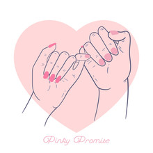 Hand Drawn Pinky Promise Concept. Hands. Outline, Line Art, Flat Style. Vector Illustration.