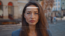 Future. Face Detection. Technological 3d Scanning. Biometric Facial Recognition. Face Id. Technological Scanning Of The Face Of Beautiful Caucasian Woman In The City For Facial Recognition. Shoted By