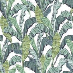 Panel Szklany Inspiracje na wiosnę Banana leaves. Tropical green leaves of seamless pattern.