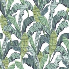 FototapetaBanana leaves. Tropical green leaves of seamless pattern.