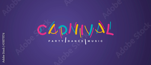 Fotomural Carnival handwritten typography colorful logo party dance music purple backgroun