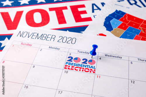 Fotografie, Obraz November 2020 presidential election text on calendar concept