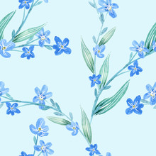 Forget-me-not Flowers Seamless...