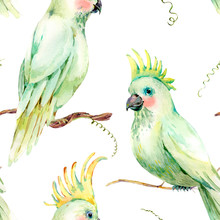 Watercolor White Parrot Seamless Pattern. Vintage Floral Texture