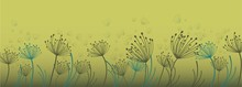 Dandelion For Decoration Design. Line Art Dandelion For Banner Design. Colorful Abstract Background. Abstract Geometric Pattern