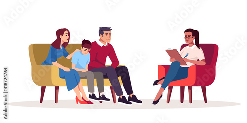 Obraz Family therapy session semi flat RGB color vector illustration. Parenting difficulties. Appointment with psychologists. Psychotherapy. Psychology consultation. Isolated cartoon character on white - fototapety do salonu