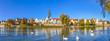 Leinwanddruck Bild - Panorama der Stadt Ulm mit Münster und Donauwiesen, Baden-Württemberg, Deutschland