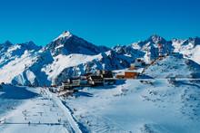 Downhill Skiing Resort In High Mountains. Ski Slope